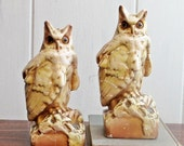 Owl Bookends Chalkware Cream and Brown