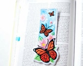 Monarch Butterfly Bookmark | Embroidered Fabric Bookmark | Butterfly and Milkweed Book Mark | Butterfly Gift Tag
