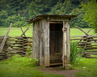 Historic Outhouse at the North Carolina Mountain Farm Museum in the Great Smoky Mountain National Park An Appalachia Landscape Photograph