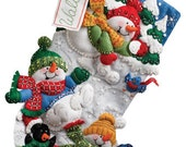 SNOW FUN - Bucilla Felt Christmas Stocking -  Frolicking Snowmen and Penquin