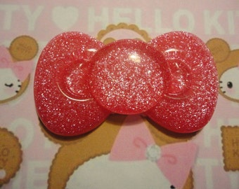 Kawaii big hot pink glitter bow decoden cabochon  58 mmーーーUSA seller