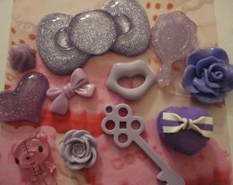 Sale-- kawaii purple cabochon decoden deco diy charm mix   11 pcs---USA seller