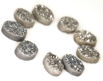 Stunning Grade AAA 2 Pieces Silver / Grey Oval Calibrated Druzy Agate Cabochon 6x8mm B70DR8207
