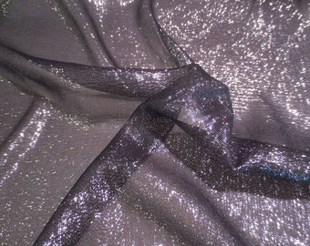 Black with Silver Metallic SIlk Chiffon Fabric--One Yard