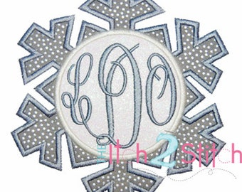 Snowflake for Monogram Applique Design For Machine Embroidery (monogram fonts NOT included) INSTANT DOWNLOAD now available