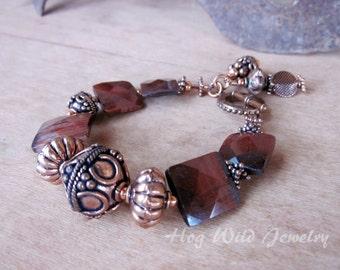Asymmetrical Copper Tigers Eye Bracelet, Women's Artisan Bracelets, Women's Handcrafted Statement Jewelry, Bohemian, Copper Jewelry