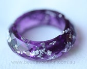 Resin Ring, Purple Faceted with Silver Leaf, Various Sizes available