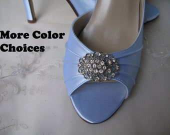 Blue Bridal Shoes Blue Wedding Shoes with Crystal Rhinestone Design - Over 100 Color Shoe Choices to Pick From
