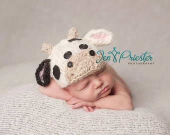 newborn Cow Hat... baby cow hat....photo prop..knit hat... Photography Prop..Newborn photo prop..25% off at checkout with code SEPT1