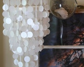 Capiz shell look-a-like mobile/ chandelier.  Weddings, nurseries, home decor, party decorations.