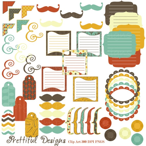 50% Off SALE Clip Art Digital Frame Mustaches Tag Brackets Journal Spots Ampersand Commercial Use Crisp Fall (722)