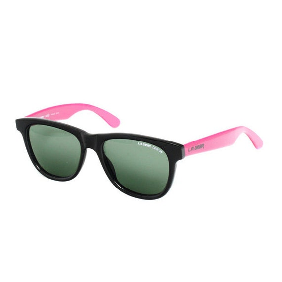 vintage wayfarer sunglasses - black sunglasses with pink temples - ray ban style - 80s new old stock two tone black pink sun glasses la gear
