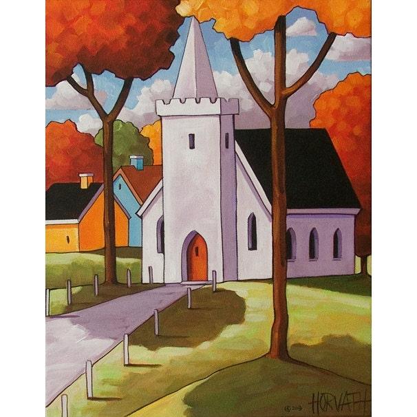 Painting Original Folk Art White Church Chapel Modern