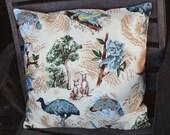 Cushion cover, very pale yellow, australian animals, kangaroo, koala, kookaburra, platypus, cockatoo,emu