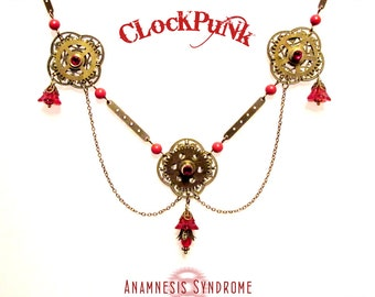 Red Flowers Clockpunk Steampunk Necklace