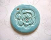 Aqua Sparkle Flower Ceramic Round Pendant