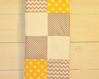 Yellow, Gray & White Baby Blanket Patchwork Baby Blanket / Quilt