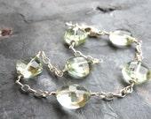 Green Amethyst Bracelet, Sterling Silver Chunky Prasiolite Bracelet Wire Wrapped Gemstone Bracelet