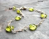 Peridot Bracelet Sterling Silver Green Coin Gemstone Bracelet, August Birthstone
