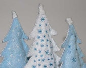 3 Decorative Trees-Balsam Scented Trees-Felt Pine Trees-White Christmas Tree-Blue Christmas Trees-Coastal Holiday Decor-Winter Home Decor