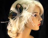 Bridal Feather Fascinator, Bridal Fascinator, Feather Fascinator, Fascinator, Hair Clip, Wedding Veil, Bridal Veil, Natural Peacock, Ivory