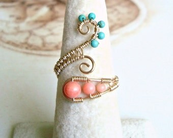 Turquoise Coral Wire Ring, Peach Aqua Adjustable Ring, Gold Swirl,  Wire Wrapped Coral Ring, Boho Turquoise Ring, Wire Weave