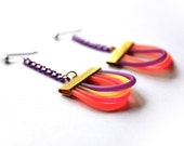 Rainbow Earrings, Hot Pink Earrings, Violet Earrings, Dark Purple Earrings, Sweet Lolita Earrings, LGBT Earrings, Pale Yellow Earrings