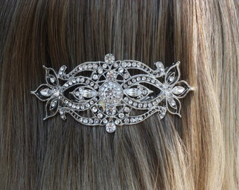 art deco swarovski crystal clear rhinestone silver bridal hair comb wedding hair accessories large hair combs headpiece head piece for bride