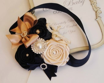 Princess Couture  Navy and Cream Roses  Headband posh with rhinestones  Baby Headband Girl Headband