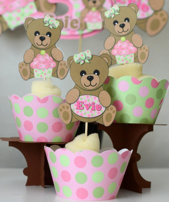 girl pink teddy bear baby shower or first birthday party