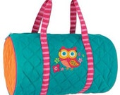 Personalized Monogrammed Stephen Joseph Quilted Teal Owl Duffle Bag Travel Tote Bag--Free Monogramming--