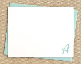 Personalized Notecard Set - Casual Monogram - Set of 12 Flat Personalized Stationery / Stationary Cards - Choose your color