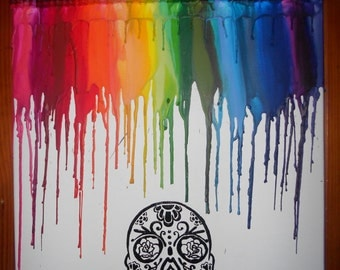 Mexican Sugar Skull Crayon Melting Painting Art
