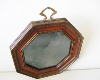 Vintage Octagonal Mirror, Smokey Glass, Hollywood Regency Mirror, Sungott Art Studios