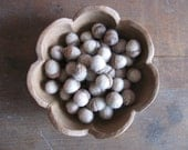 Felted wool acorns, Rainbow Opal White, wholesale set of 50, for autumn home decor, white bowl filler, neutral home decor, white wool acorns