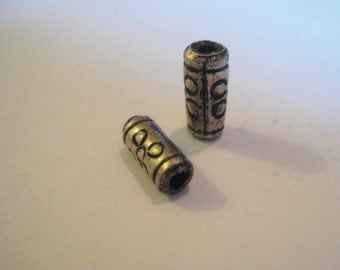 Vintage Silver Beads: Authentic Thai-Khmer Tribal Tube Beads, Etched Ethnic Flower Design, 8x4mm, 2 pieces (k)