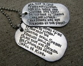 LOTR quote - Not all who wander complete poem - Hand Stamped Dog Tag Set