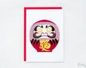 Daruma Goal Japanese Greeting Card
