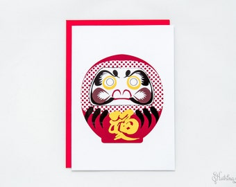 Daruma Goal Japanese Greeting Card