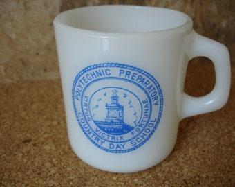 Vintage Polytechnic Prep School milk glass mug