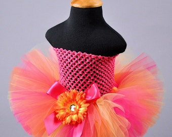 Orange Coral and Hot Pink Tropical Tutu...Hawaiian Tropical Birthday Tutu, Summer Beach Tutu...Newborn to Adult . . . TROPICAL ORANGE SORBET
