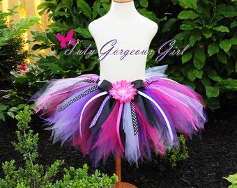 Purple Hot Pink & Black Birthday Ribbon Tutu...Polka Dot Ribbon Streamers...First Birthday Tutu...Baby, Toddler, Girls . . . BIRTHDAY DIVA