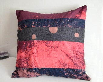 Galaxy Pink and Blue Throw Pillow, Colorblock Pillow Cover - Hand Dyed Pillow - Galaxy Print 16x16 Pillow Cover, Galaxy Decor