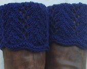 Boot Toppers - Soft Navy Scalloped Feathers & Lace