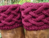 Boot Toppers - Celtic Braid - Burgandy