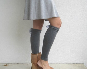 Above the Knee Length Skirt / Mini / Heather Gray Interlock Cotton Blend Knit / Summer / Fall / Spring