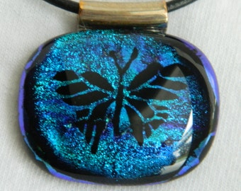 Fused glass Butterfly Pendant Dichroic blue Pendant Necklace
