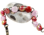bracelet dichroic glass pinks and reds