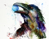 RAVEN Watercolor Print, Raven Art, Bird Art, Raven Painting,  by Dean Crouser