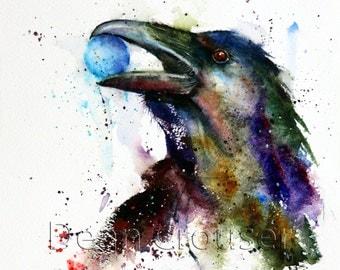RAVEN Watercolor Print, Raven Art, Bird Art, Raven Painting,  by Dean Crouser